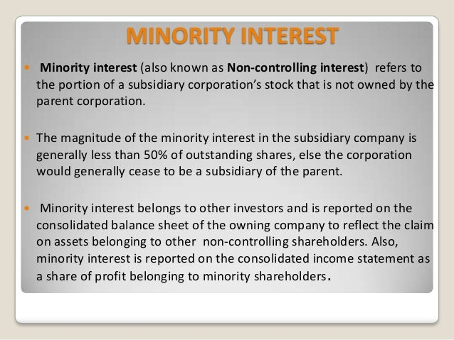 minority interest income statement example