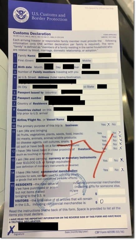 example onhow to fill out state declaration for a visa