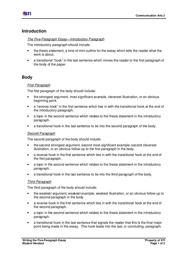 5 paragraph essay example college