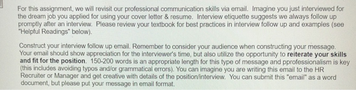 example of communication skills and written assignment of the interview