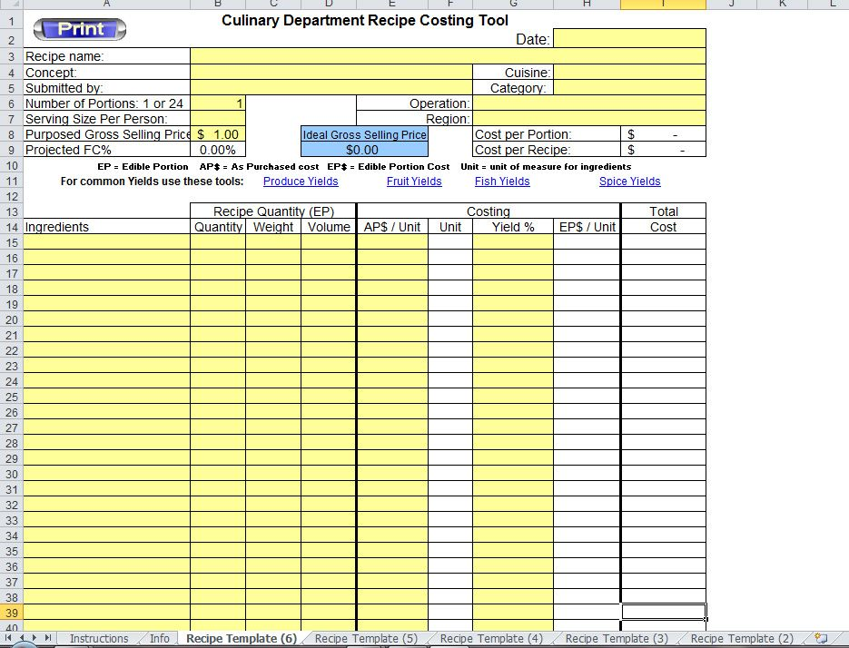 example of food costing sheet