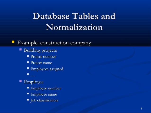 normalization in database with example tables pdf
