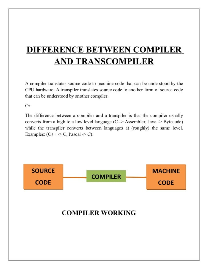 example of compiler programming language