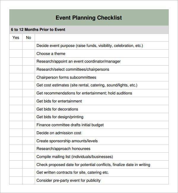 example of a minute planning checklist