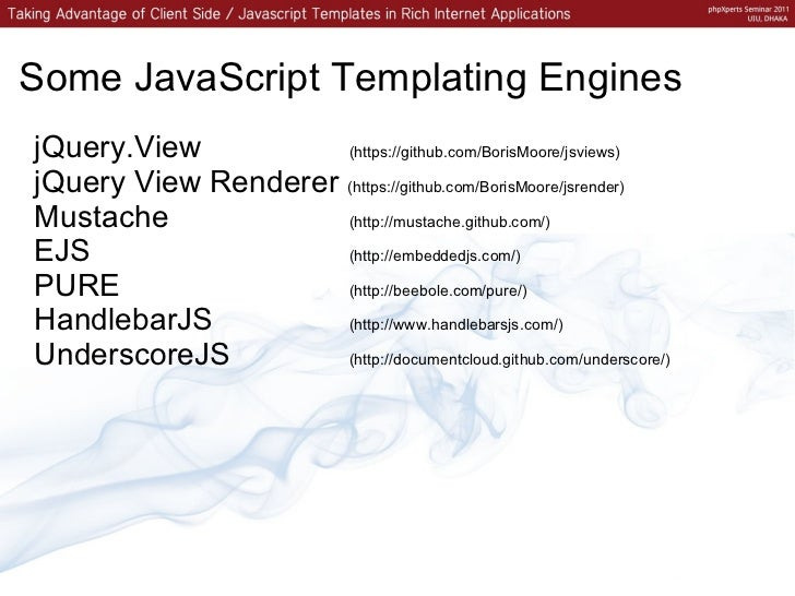 example of client side templating
