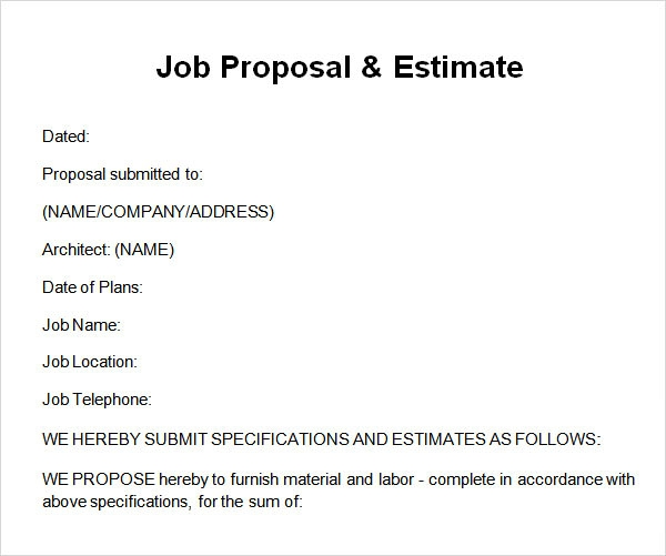 how to write a job proposal example