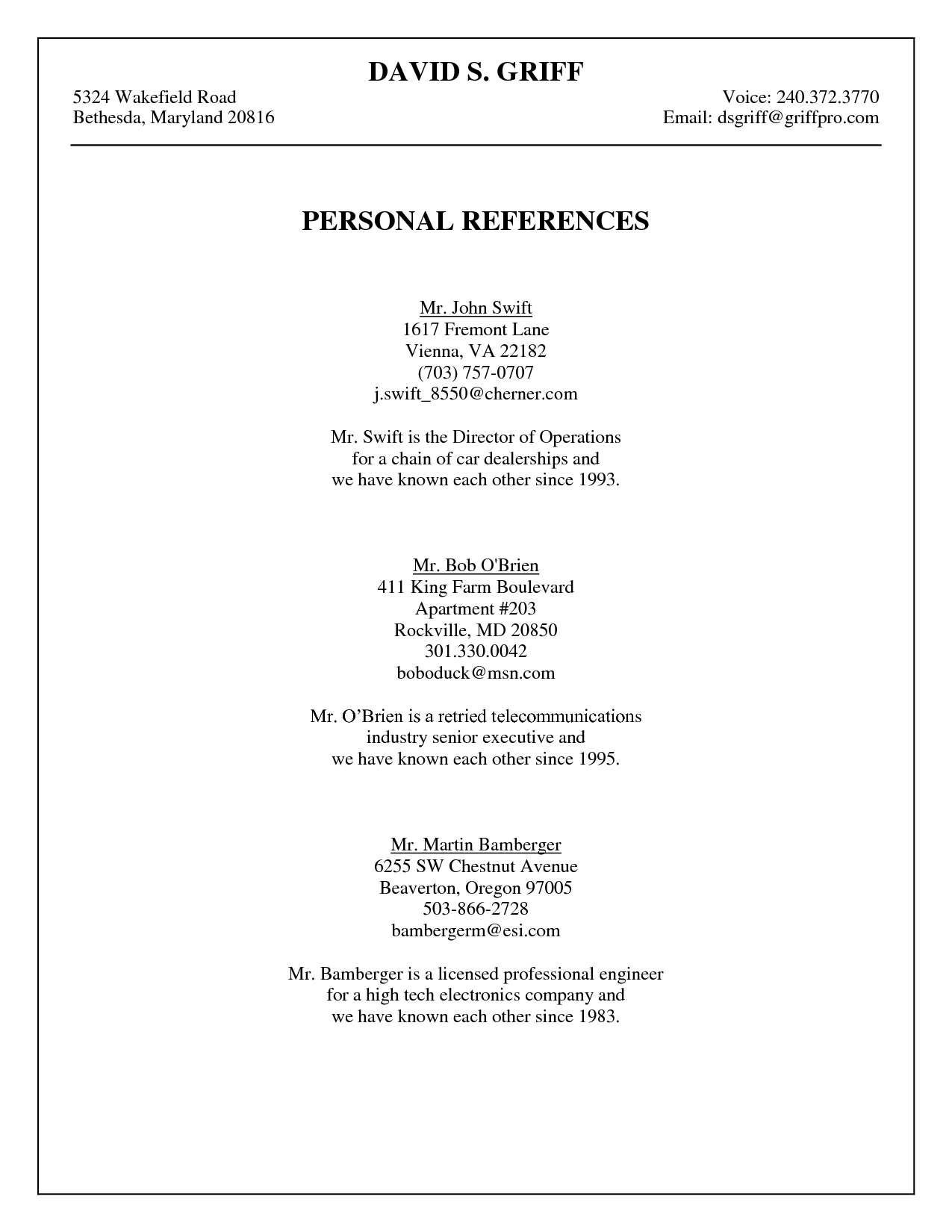 how to write references in resume example