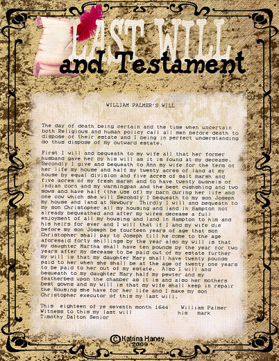 last will and testament wording example