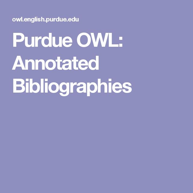 purdue owl annotated bibliography example