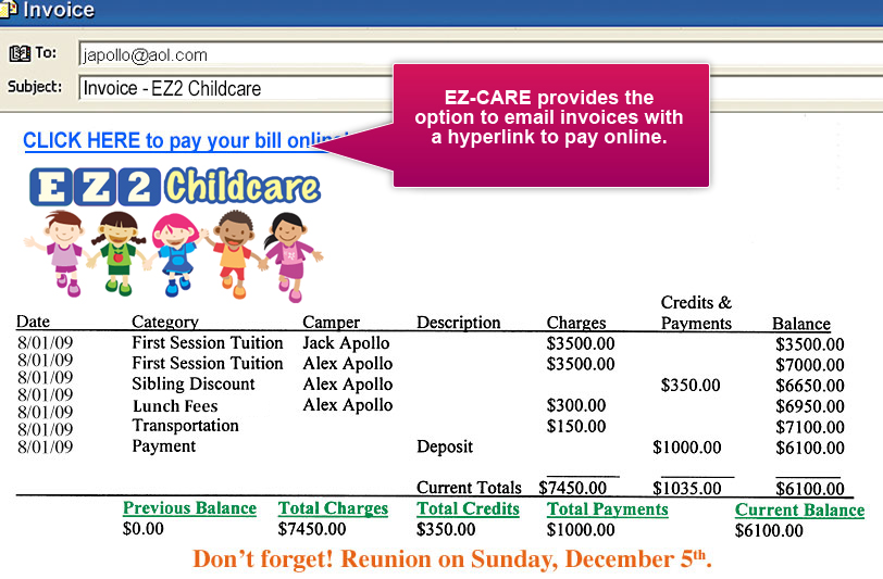 what are child care fees example